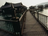 Walkway to Malaysian-Style Luxury Resort Villas on Stilts Photographic Print