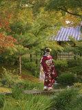 Kimono-Clad Geisha in a Park Near a Stream Photographic Print