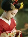 A Portrait of a Kimono-Clad Geisha Photographic Print