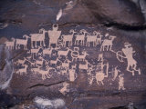 Ancient Pueblo-Anasazi Rock Art Showing a Hunt Scene Photographic Print by Ira Block