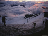 Dawn's Light Finds Mountaineers Crossing a Snow-Crusted Ridge of Mt. Hood, Oregon Photographic Print by Sam Abell