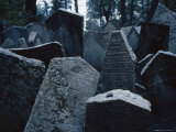 Jumbled Tombstones in the Old Jewish Cemetery in Prague, Czechoslovakia Photographic Print