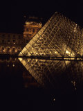 A Night View of the Im Pei Pyramid at the Louvre, Paris, France Photographic Print by Taylor S. Kennedy