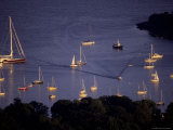 Gold Light on Sailboats Anchored in Camden Harbor on Penobscot Bay Photographic Print by Stephen St. John