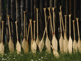 Oars Are Propped Against a Fence, Old Fort William, Thunder Bay, Ontario, Canada Photographic Print by James P. Blair