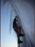 Climber Scaling Ice Cliff, Mt. Rainier, Washington Photographic Print by Sam Abell