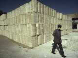 Worker Wearing a Face Mask Next to Cotton-Filled Containers, Dunhuang, Gansu Province, China Photographic Print by James L. Stanfield