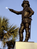 A Statue of Ponce De Leon, Seems to Reach Out to Touch the Moon Photographic Print by Stephen St. John