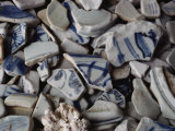 Shards of Ming Dynasty Porcelain Speckle Saipans Shoreline Photographic Print by Sisse Brimberg