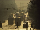 Commuters Cross Dondukov Street under a Web of Streetcar Lines, Sofia, Bulgaria Photographic Print by James L. Stanfield