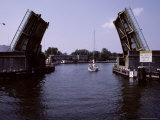 The Drawbridge in Cambridge Opens for a Sailboat Along the Choptank Photographic Print by Stephen St. John