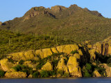 Bartlett Lake, Rock Formations and Saguaro Cacti Photographic Print by Raul Touzon