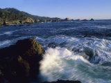 Surf Pounds and Swirls Around Bird Rock at Weston Beach Photographic Print by Rich Reid