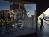 Portraits of Robert Mugabe and Canaan Banana in a Window Display, Salisbury, Zimbabwe Photographic Print by James L. Stanfield