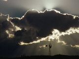 Backlit Clouds Above a Silhouetted Windmill, Graaff-Reinet, South Africa Photographic Print by James P. Blair