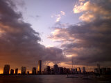 Downtown Miami Skyline Across Biscayne Bay at Sunset Photographic Print by Raul Touzon