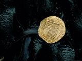 Gold Coin, Iberian Artifact from the Armada Shipwreck near the Giant's Causeway, Northern Ireland Photographic Print by Bates Littlehales