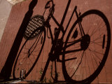 A Shadow Pattern Suggests a Bicycle Lying Across the Brick Walk Photographic Print by Stephen St. John