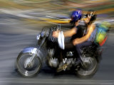 A Blur of Color,, Barcelona is Known as a City of Motorcycles Photographic Print by Stephen St. John