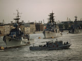 Soviet Warships and a Patrol Craft Prepare for Inspection on Navy Day 1988 Lmina fotogrfica por Cotton Coulson