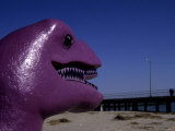 A Purple Dinosaur Eyes Humans on the Atlantic City Boardwalk Photographic Print by Stephen St. John