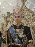 Portrait of the Shah of Iran Taken During Coronation Ceremonies, Gulistan Palace, Tehran, Iran Fotografisk tryk af James L. Stanfield