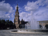 The Fountains of the Plaza De Espana in Seville on a Summer Day, Plaza De Espana, Seville, Spain Photographic Print by Taylor S. Kennedy