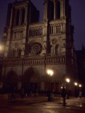 Notre Dame Cathedral on a Winter Evening, Paris, France Photographic Print by Taylor S. Kennedy