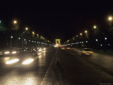 Traffic Along the Champs Elysees at Night, Paris, France Photographic Print by Taylor S. Kennedy