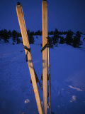 Cross-Country Skis Standing Upright at a Snow Camp at Dusk, Tahoe National Forest, California Photographic Print by Phil Schermeister