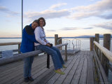 A Couple Enjoy a Tender Moment on a Summer Afternoon, Fraueninsel, Bavaria, Chiemsee, Germany Photographic Print by Taylor S. Kennedy