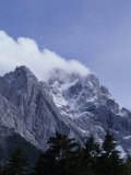 The Highest Mountain in Germany,Der Zugspitze,Peak Shrouded in Fog, Garmisch Partenkirchen, Germany Photographic Print by Taylor S. Kennedy