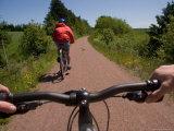 Two Bikers Enjoy a Summer Ride Along a Trail, Charlottetown, Prince Edward Island, Canada Fotoprint van Taylor S. Kennedy