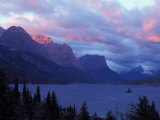 Sunrise on Peaks in Glacier National Park, Montana, USA Photographic Print by Steve Kazlowski