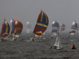 Spinnakered Boats Race in the Plattsburgh Mayor's Cup, Lake Champlain Photographic Print by Phil Schermeister