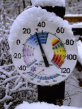 A Cold & Snow-Covered Thermometer Shows the Impact of a Winter Storm Photographic Print by Stephen St. John