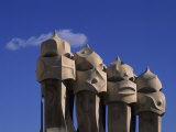 The Strangely Shaped Rooftop Chimneys of La Pedrera Designed by Gaudi, Barcelona, Spain Photographic Print by Taylor S. Kennedy