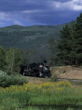 A Steam Engine Chugs Through a Valley Near a Field of Wildflowers, Silverton, Colorado Photographic Print by Taylor S. Kennedy