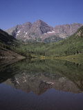 The Maroon Bells Look at Themselves in the Reflection of the Lake, Aspen, Colorado Photographic Print by Taylor S. Kennedy