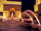 Paris Hotel and Casino Fountains in Front of L'Arc de Triumph Replica, Las Vegas, Nevada, USA Photographic Print by Brent Bergherm