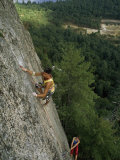 Climber Inches up a 600-Foot Climb Called Inferno, White Horse Ledge, New Hampshire Photographic Print by Phil Schermeister