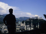 A Man Stands Admiring the Overlook of the City, Salzburg, Austria Photographic Print by Taylor S. Kennedy