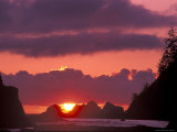 Seastacks at Sunset, Rialto Beach, Olympic National Park, Washington, USA Photographic Print