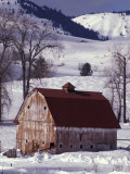 Barn in Winter, Methow Valley, Washington, USA Photographic Print by William Sutton