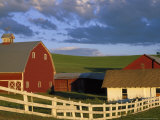 Red Barn with Fenceline in Summer, Whitman County, Washington, USA Photographic Print by Julie Eggers