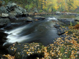 Autumn Leaves at Packers Falls on the Lamprey River, New Hampshire, USA Photographic Print by Jerry & Marcy Monkman