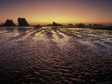 Bandon Beach and Sunset Afterglow, Bandon Beach State Park, Oregon, USA Photographic Print by Adam Jones