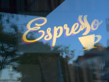 Espresso Sign in Cafe Window, Portland, Oregon, USA Photographic Print by Janis Miglavs