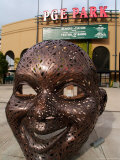 Bronze Face at PGE Park, Home of the Portland Beavers and Portland Timbers, Portland, Oregon, USA Photographic Print by Janis Miglavs