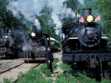 Antique Steam Locomotives, Elbe, Washington, USA Photographic Print by William Sutton